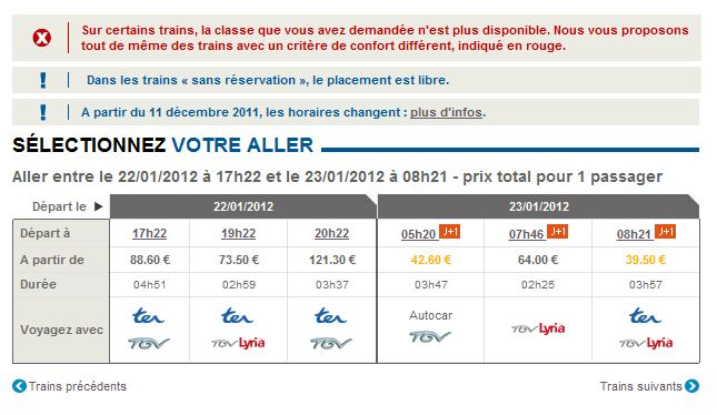 sncf horaire train